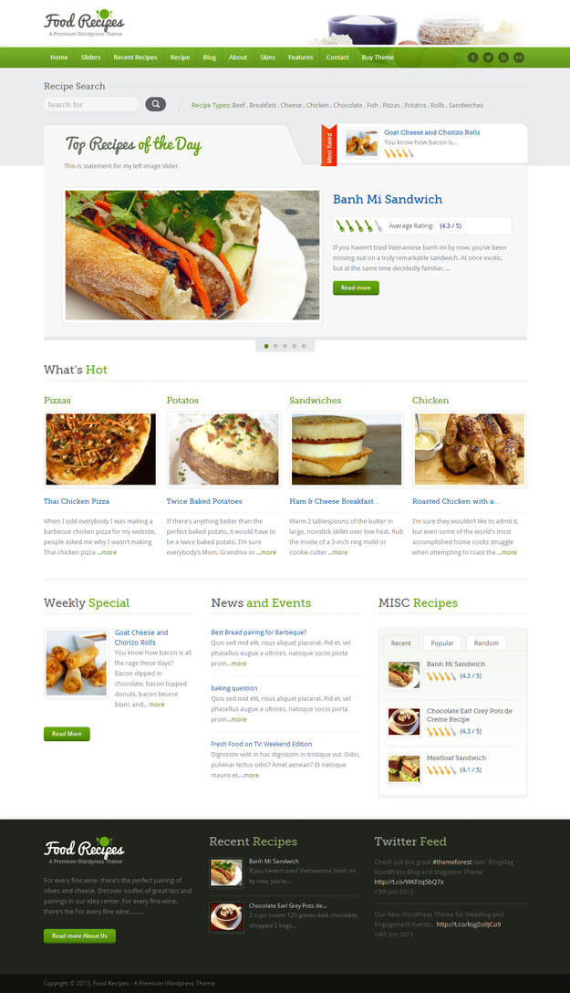17 best food blog wordpress themes 2018 start a food blog food recipes forumfinder Gallery