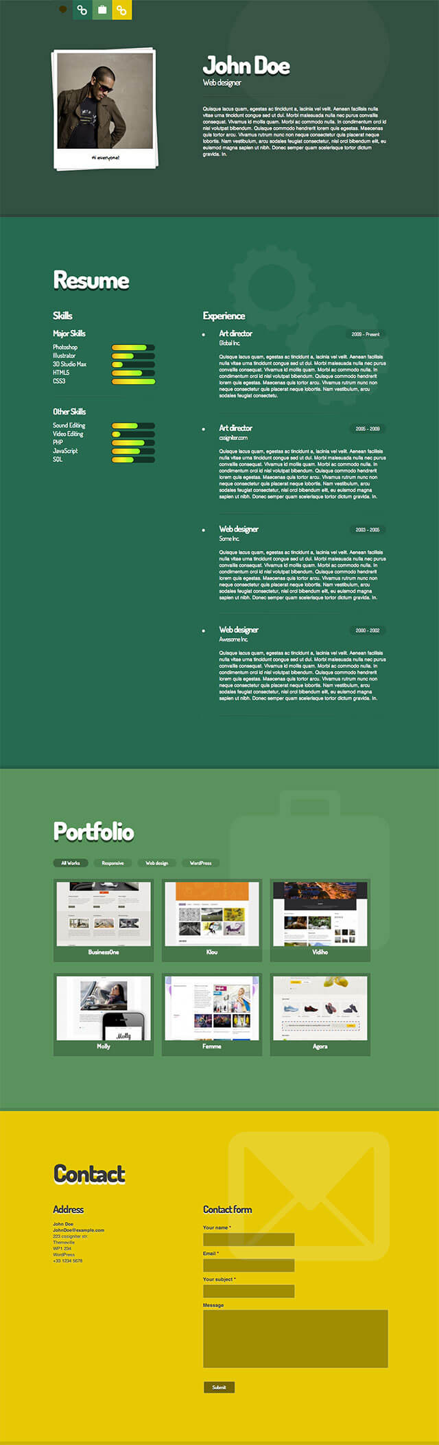 Beautiful Resume Wordpress Theme Nulled Gallery - Entry Level ...