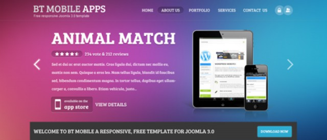 bt mobile apps free responsive joomla templates