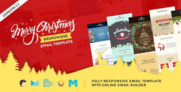 new year christmas is a set of responsive multipurpose email templates with online email builder access to customize the templates as per your email