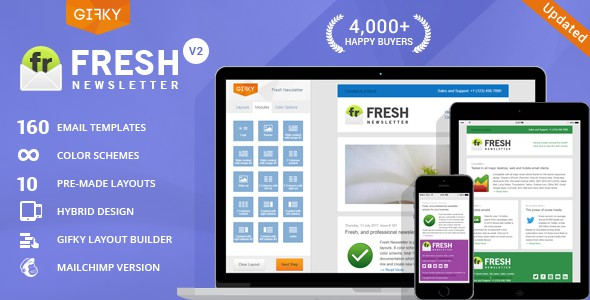 fresh newsletter is hybrid responsive email template clean classic design fits wide range of marketing newsletter and e commerce usage